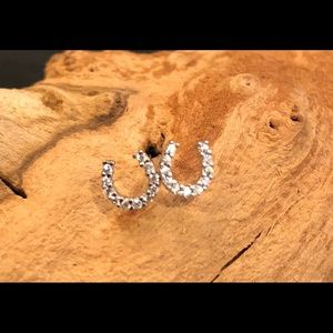 NWT Horseshoe AAA Pave CZ Stud Earrings